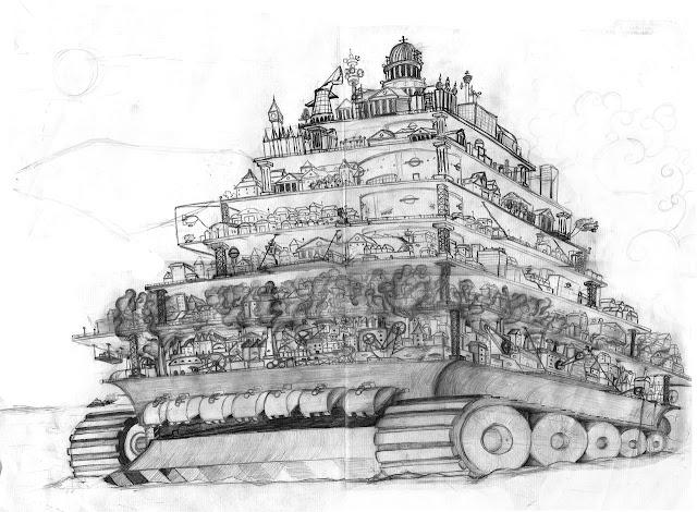 pencil sketch of London City in Mortal Engines