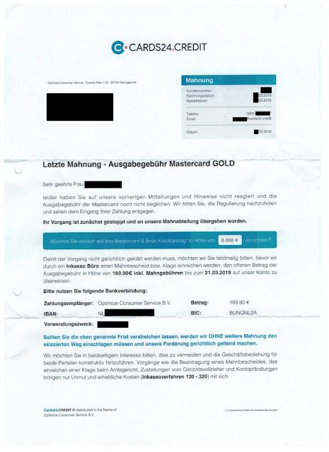 Scan: Mahnung cards24.credit / April 2019