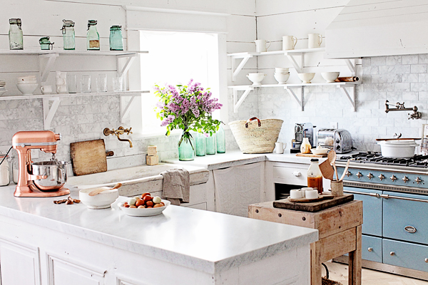 dreamy whites: french inspired kitchen makeover, french stone sink