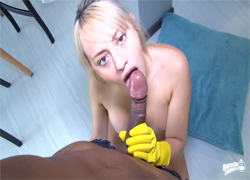 Lustful Latina cleaning blonde is drilled at work
