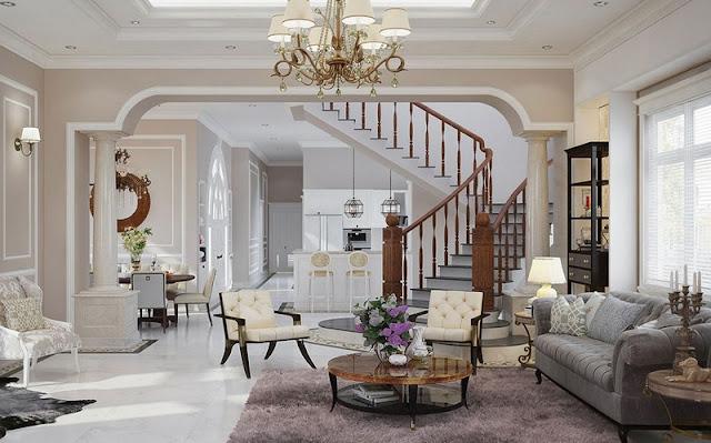 Các thiết kế phòng khách và cầu thang được nhiều người yêu thích