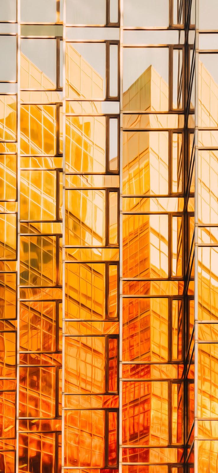 yellow golden glass building wallpaper