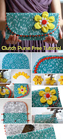 The Ric Rac Clutch Purse with yellow flower on teal. DIY Tutorial