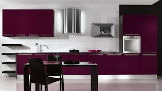 diseño cocina morada moderna