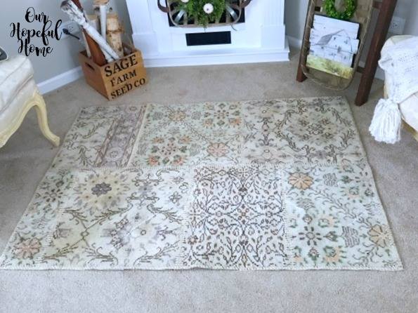 overdyed farmhouse Ela patchwork rug living room fall decor