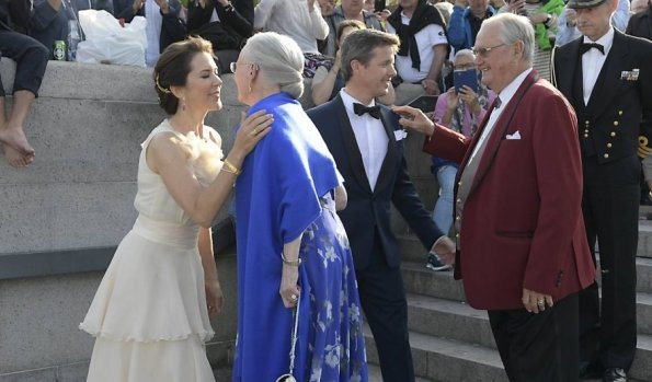Queen Margrethe and Prince Henrik, Crown Prince Frederik and Crown Princess Mary of Denmark attends a gala dinner in the occasion of the Royal Danish Yacht Club. Princess Mary wore Oly Yde Dresss