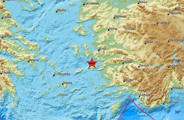 Ισχυρός σεισμός 6,7 Ρίχτερ βόρεια της Σάμου