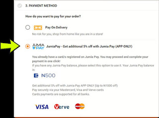 Pay with Jumia pay for 500 Naira global shop