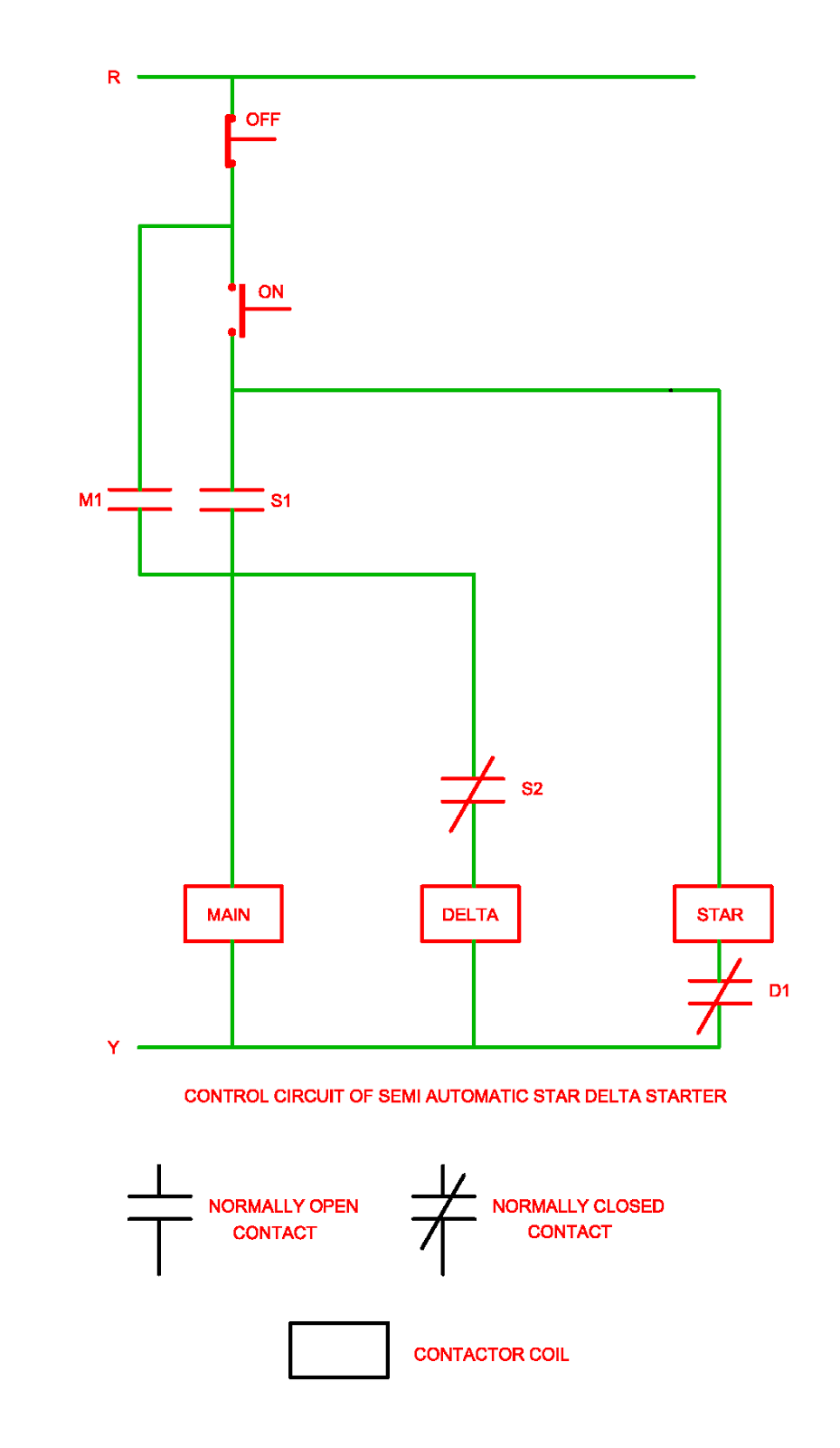 Control Circuit of Semi Automatic Star Delta Starter Electrical