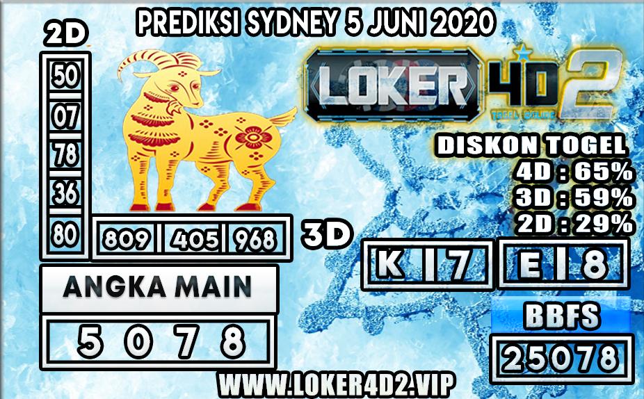 PREDIKSI TOGEL SYDNEY LOKER4D2 5 JUNI 2020