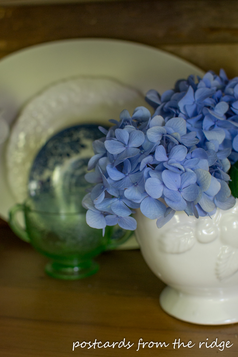 blue hydrangeas with white ironstone