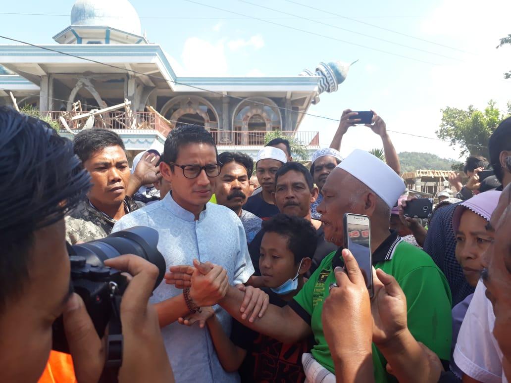 Ajak Korban Gempa Lombok Lakukan Ini, Sandi Panen Doa
