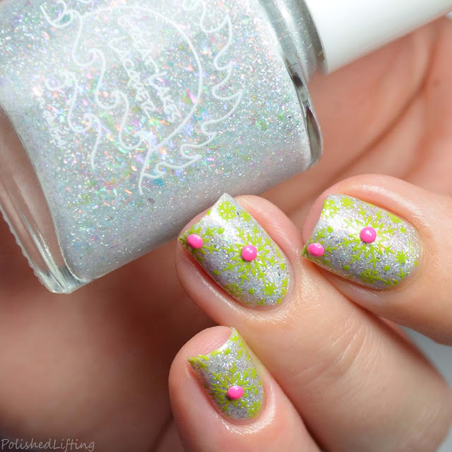 lime green snowflake nail art