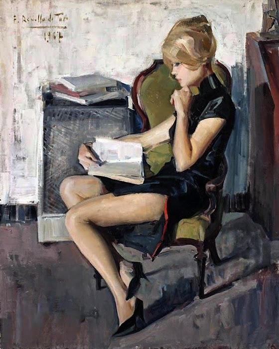 Mujer Leyendo,  Félix Revello de Toro, Pintor español, Retratos de Félix Revello de Toro