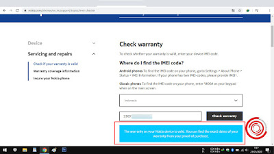 4. Jika perangkat Nokia Android kita garansi resmi, maka akan tertulis The warranty on your Nokia device is valid. You can find the exact dates of your warranty from your proof of purchase. Dan jika bukan garansi resmi akan tertulis Sorry, we couldn't find a device to match your IMEI. Please check the code and try again.