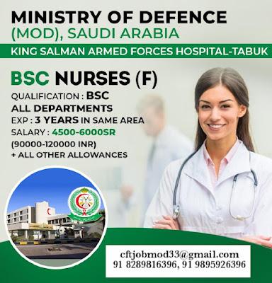 STAFF NURSES (F) TO MINISTRY OF DEFENCE (MOD) SAUDI ARABIA