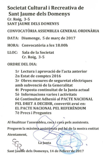 Assemblea General Ordinaria SRC Sant Jaume dels Domenys, diumenge 5 de març de 2017