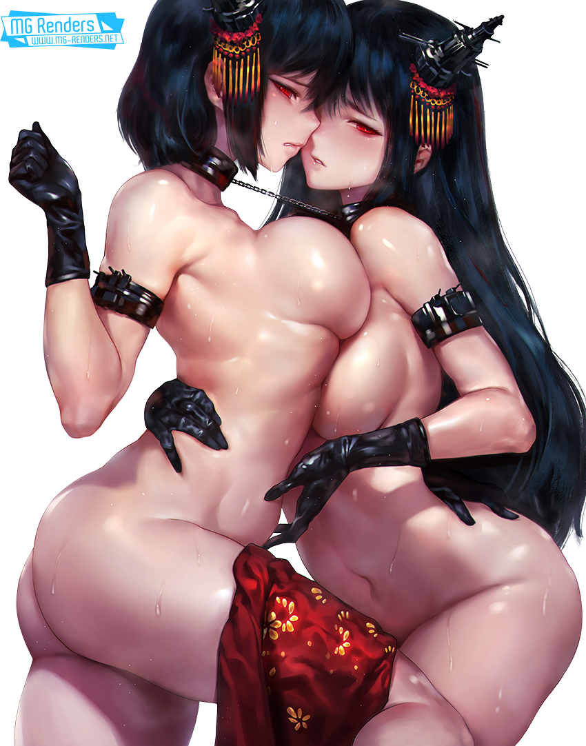 Tags: Anime, Render,  Bent over,  Breasts press,  Breasts to breasts,  Fusou,  Kantai Collection, Kancolle, 艦隊これくしょん,  No bra,  No panties,  Sideboob,  Yamashiro,  Yuri, PNG, Image, Picture