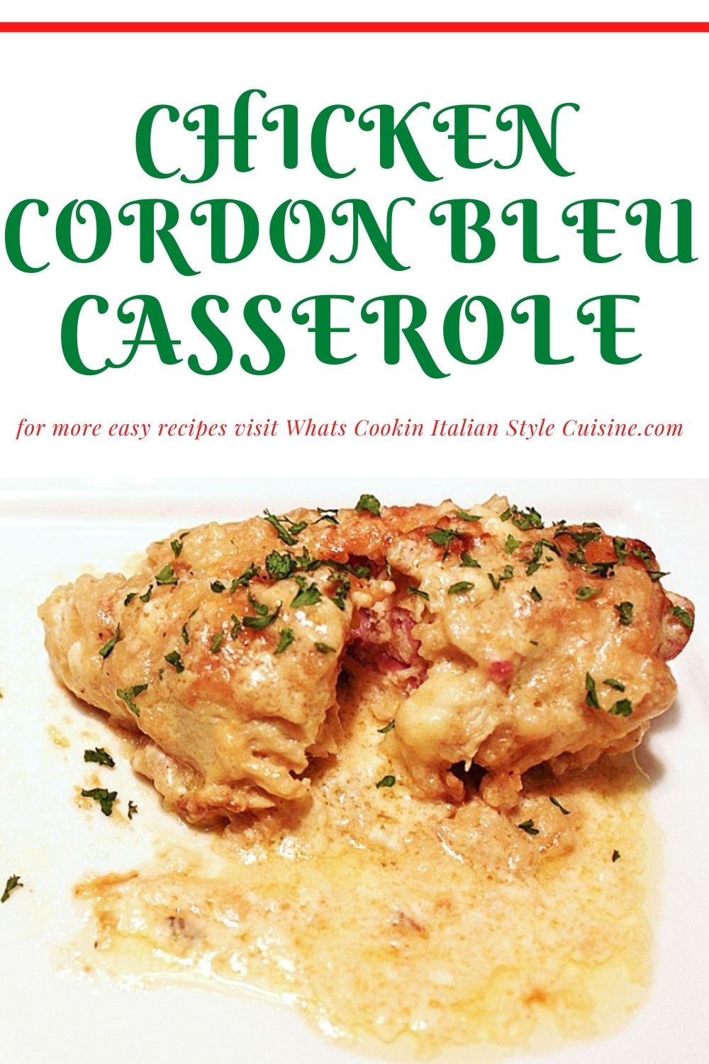 this is a casserole pin for later on how to made chicken cordon bleu baked