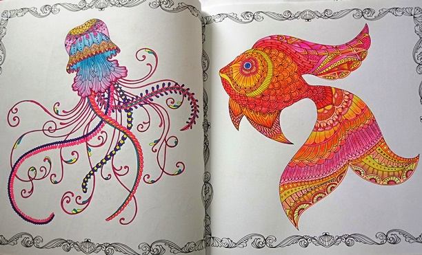 Coloured pages from Johanna Basford's Lost Ocean colouring book