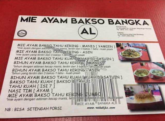 Menu Mie Ayam Bakso Al, Mie Ayam Bakso Bangka Terlezat di Bogor!