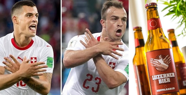 Swiss Beer 'Doppelradler' with double-headed eagle logo after Xhaka and Shaqiri goals against Serbia