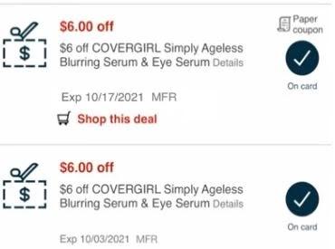 Covergirl Ageless Serum CVS crt store Coupon (Select CVS Couponers)