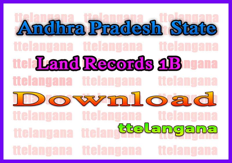 Andhra Pradesh AP Land Records 1B Download