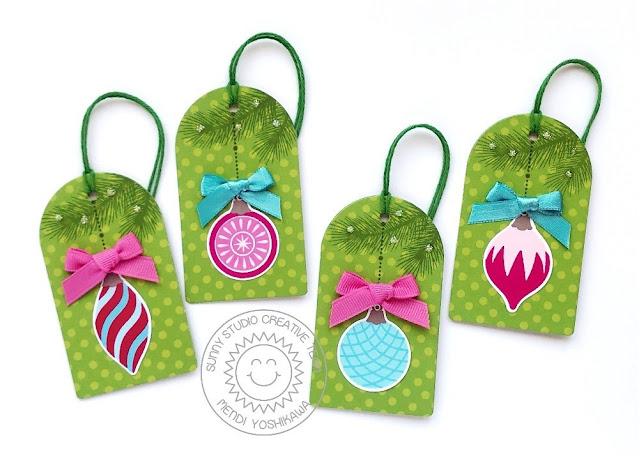 Sunny Studio Ornament Gift Tags (using Retro Ornament & Classy Christmas Stamps, Build-a-Tag 1 Dies, Holiday Cheer Paper)