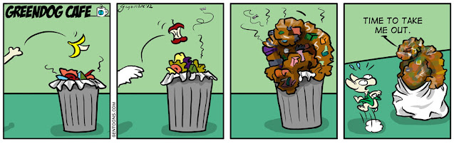 """panel 1: a rubbish bin, garbage can, trash can. it's full of smelly garbage. someone throws a banana peel on top.  Panel 2: someone throws an apple core on top. panel 3: the garbage climbs out of the can. panel 4: the garbage, holding the bag up like clothing, says to Sr. Banana, """"Time to take me out."""""""