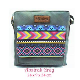 tas selempang muira, bahan waterproof, smallbag muira abstrak, motif tribal