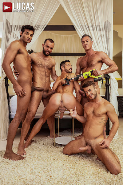 #LucasEntertainment - MARCO ANTONIO AND SIR PETER LEAD A FIVE-MAN FUCK