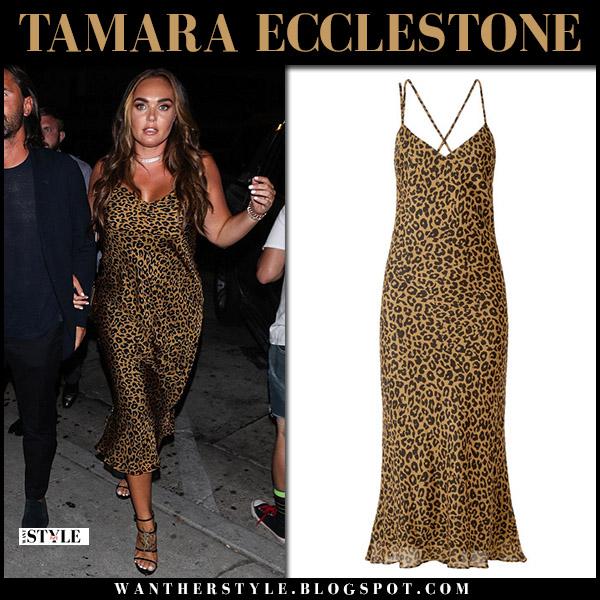 Tamara Ecclestone in leopard print midi dress michelle mason night out style august 29