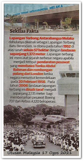 Sekilas fakta ; Lapangan Terbang Antarabangsa Melaka