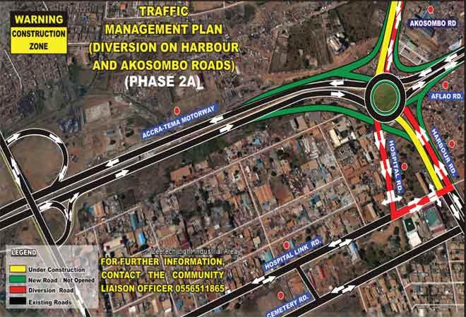 Road diversion at Tema Motorway roundabout