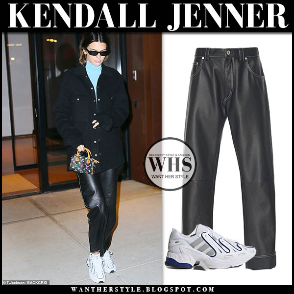 Kendall Jenner in black loewe leather pants, black jacket and white adidas eqt gazelle sneakers. street style december 12