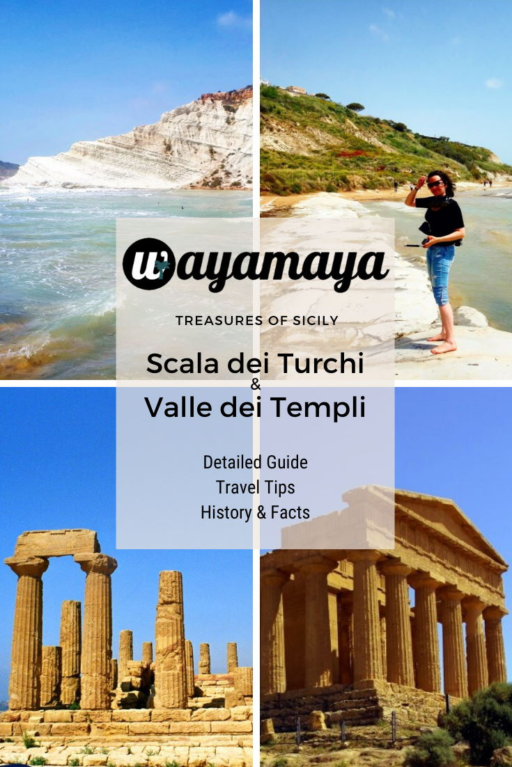 Wayamaya detailed travel guide to Scala dei Turchi, Realmonte - the best beach in Sicily Italy & Valle dei Templi, Agrigento - largest archaeological site in the world. How to get there, interesting facts & useful travel tips to famous Stairs of the Turks & ancient Valley of the Temples. Visit Treasures of Sicily #italy #italia #sicily #sicilia #traveltips #agrigento #travelphotography #traveldestinations #wayamaya