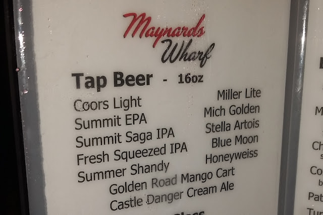 draft beer menu at Maynards Wharf