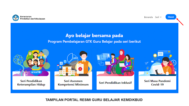 klik tombol masuk - di portal resmi guru belajar - kemdikbud