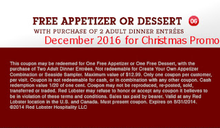 Red Lobster coupons december 2016