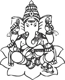 Ganpati Art Color Black & White Clipart