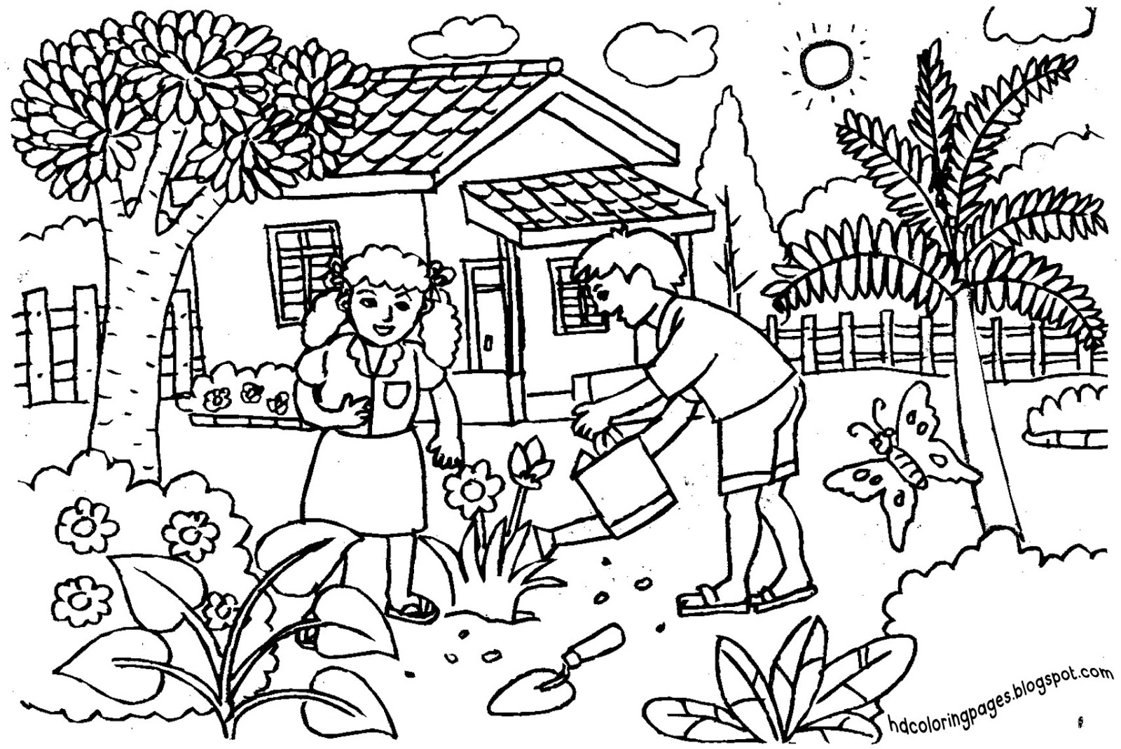 let gardening gardening coloring pages