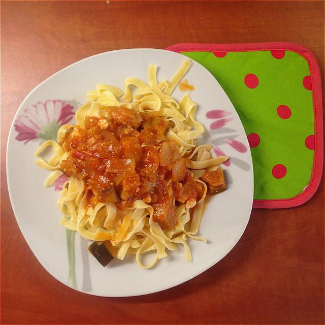 Ταλιατέλες με σάλτσα καλοκαιρινών λαχανικών