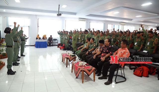 Anggota Sat Linmas mengikuti Workshop Penguatan Anggota Linmas