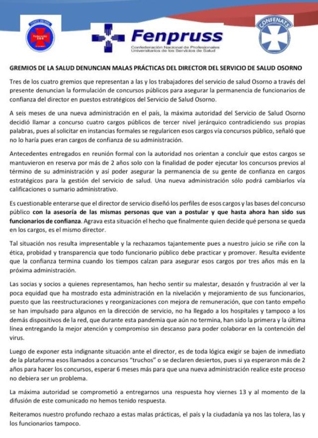 Denuncian malas prácticas del Director del Servicio de Salud Osorno