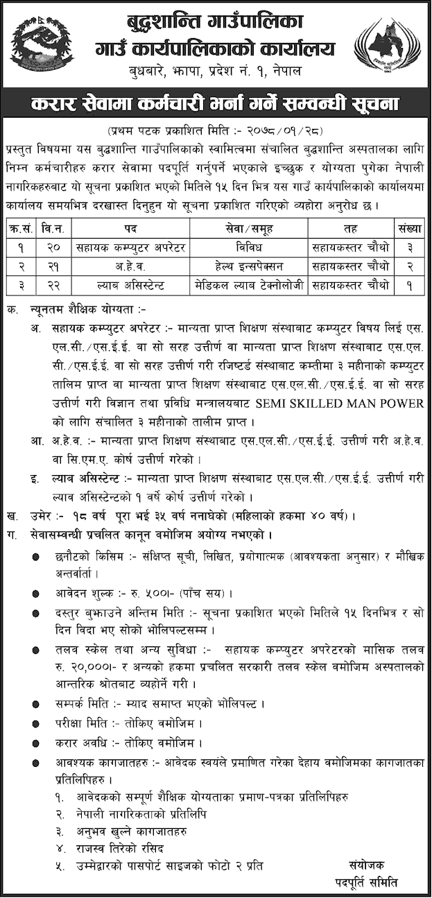 Buddhashanti Rural Municipality, Jhapa Job Vacancy for Assistant Computer Operator, AHW and Lab Assistant