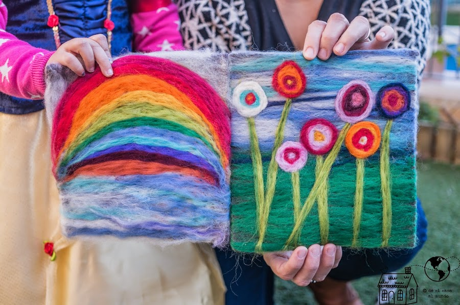 tapiz de lana diy niños color