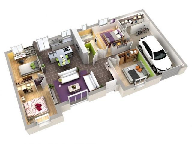 house plans 3 rooms minimalist 3d