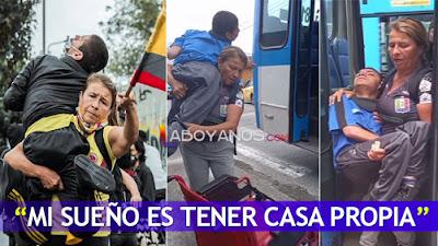 """""""Mi sueño es tener casa propia"""": Doña Tere, la mujer que se echa al hombro a su hijo para marchar por el país"""