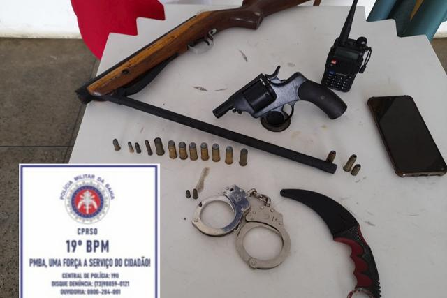 19º BPM encontra carabina e revólver no município de Jaguaquara